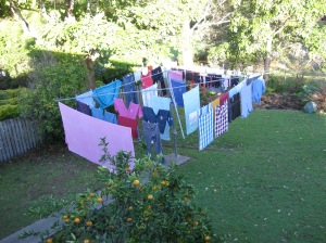 the pleasure of washing, drying in the sun.