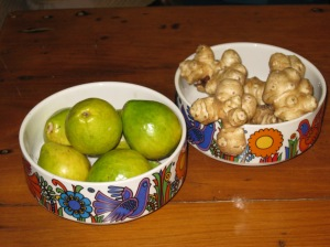 Jerusalem artichokes and guavas, in memory of my grandmother.